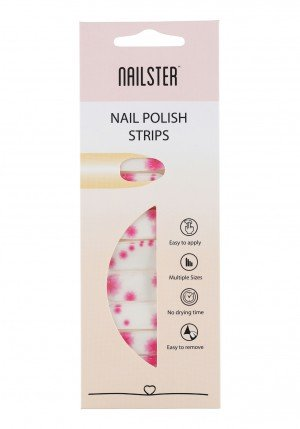 Nail Strip White/Pink Flower