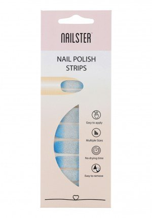 Nail Strip Glitter Blue/White