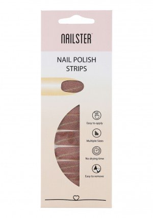 Nail Strip Glitter Brown with nude stripe