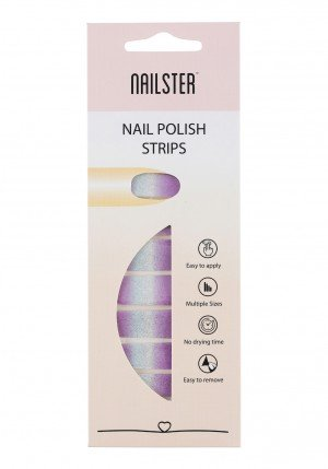 Nail Strip Glitter Purple/Silver